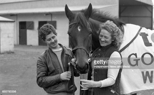 Dawn Run Cheltenham Gold Cup winner and National Hurdling Champion with Groom John Clarke and the Wife of Paddy Mullins Maureen Mullins at the Paddy...