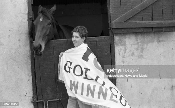 Dawn Run Cheltenham Gold Cup winner and National Hurdling Champion with Groom John Clarke at the Paddy Mullins Stable circa March 1986