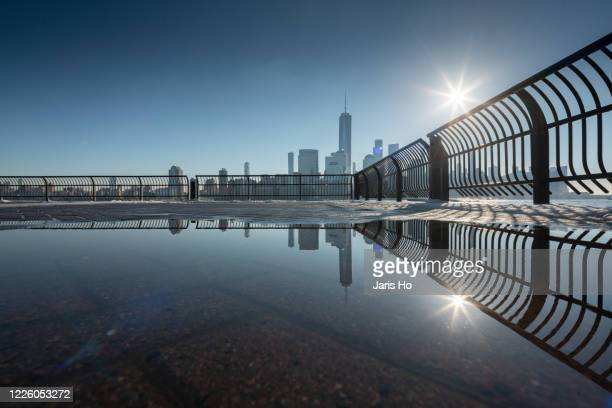 dawn scenery of manhattan skyline, new york. - river hudson stock pictures, royalty-free photos & images