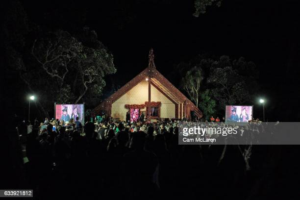 Dawn Service at Te Whare Rðnanga on February 6 2017 in Waitangi New Zealand The Waitangi Day national holiday celebrates the signing of the treaty of...
