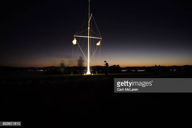 Dawn Service at the Upper Treaty Grounds on February 6 2017 in Waitangi New Zealand The Waitangi Day national holiday celebrates the signing of the...