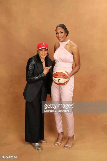Dawn Staley and A'ja Wilson pose for a portrait after being selected number one overall by the Las Vegas Aces during the WNBA Draft on April 12 2018...