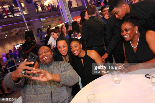 Dawn Staley and Kelsey Mitchell pose for a selfie prior to the 2018 WNBA Draft 2018 on April 12 2018 at Nike New York Headquarters in New York New...