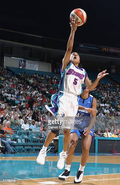 Dawn Staley of the Charlotte Sting puts a shot up during the game against the Orlando Miracle on July 17 2002 at Charlotte Coliseum in Charlotte...