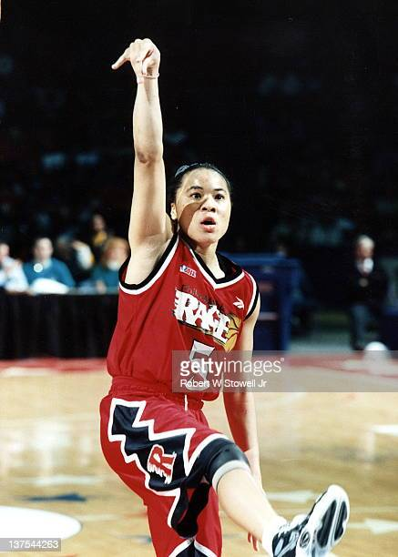 Dawn Staley point guard for the Philadelphia Rage women's basketball team of the American Basketball League follows through after shooting a jumpshot...