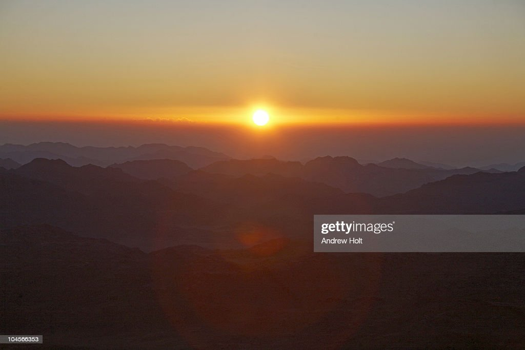 Dawn sunrise from Mt Sinai, Egypt : Stock Photo
