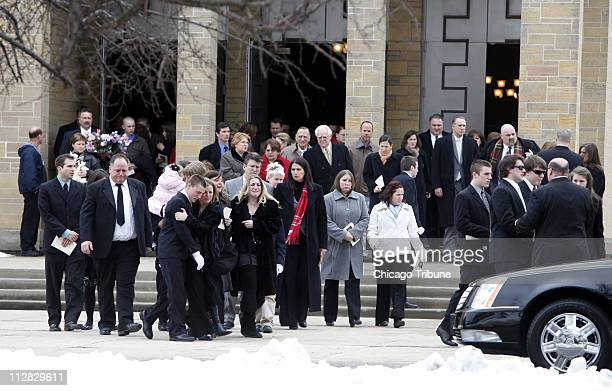 Dawn Therese Brancheau's family and friends leave St Rita of Cascia Shrine Chapel in Chicago Illinois Monday March 1 2010 after the funeral of the...
