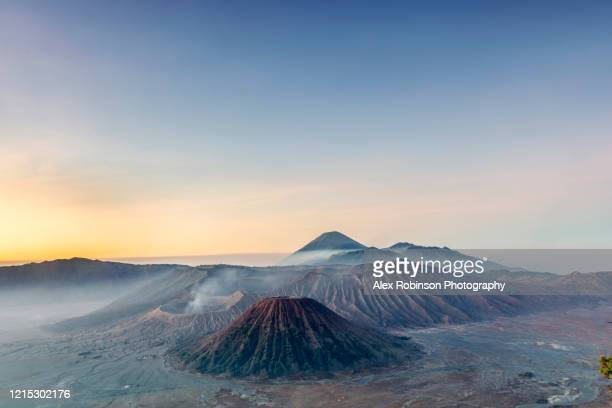 dawn view over a volcanic landscape - bromo tengger semeru national park stock pictures, royalty-free photos & images