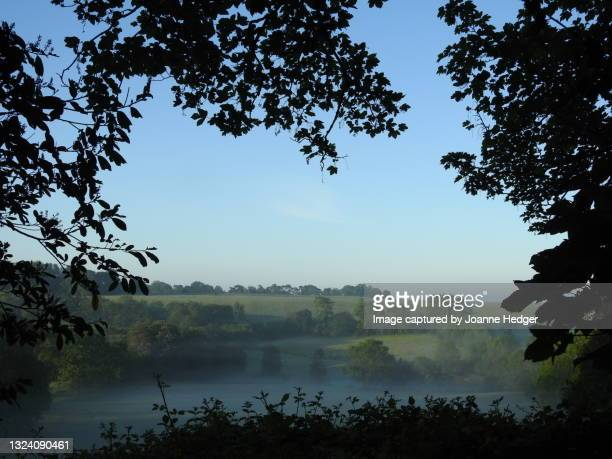 a dawn walk passing arable fields and meadows of the english countryside in west sussex - national wildlife reserve stock pictures, royalty-free photos & images