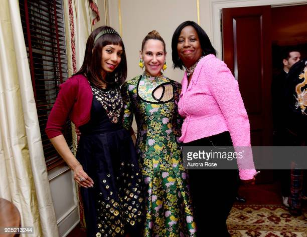 Dawne Marie Grannum Alyson Cafiero and Lisa Downing Pose at Jean Shafiroff's Annual Cocktail Party at Private Residence on February 27 2018 in New...
