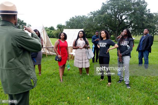 DawnLyen Gardner and Rutina Wesley listen to National Park Service Superintendent Lance Hatten at the National Park Foundation's Parks 101 Experience...