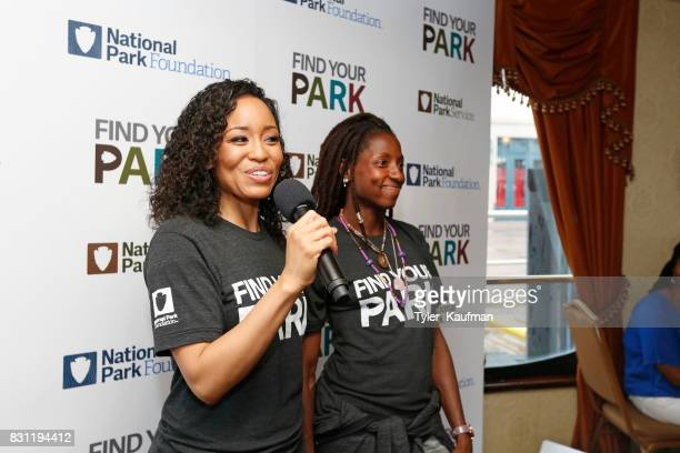 DawnLyen Gardner and Rutina Wesley speak to attendees at the National Park Foundation's Parks 101 Experience on the Creole Queen Boat on August 10...