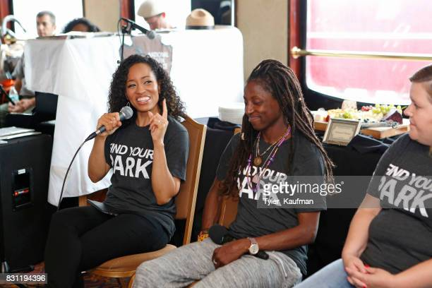 DawnLyen Gardner and Rutina Wesley speak to attendees during the National Park Foundation's Parks 101 Experience on the Creole Queen Boat on August...