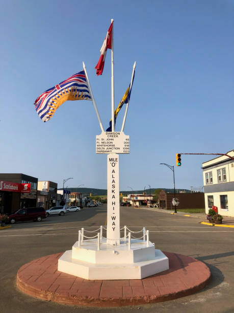 Dawson Creek, British Columbia, Canada - July, 29th, 2019: Flags and Miles Marking