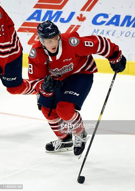 Dawson McKinney of the Oshawa Generals skates against the Mississauga Steelheads during game action on October 25, 2019 at Paramount Fine Foods...