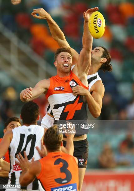 Dawson Simpson of the Giants in action during the JLT Community Series AFL match between the Greater Western Sydney Giants and the Collingwood...