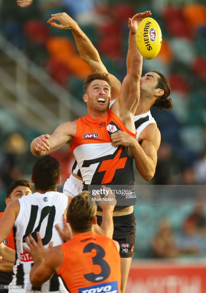 Dawson Simpson of the Giants in action during the JLT Community Series AFL match between the Greater Western Sydney Giants and the Collingwood Magpies at UNSW Canberra Oval on March 1, 2018 in Canberra, Australia.