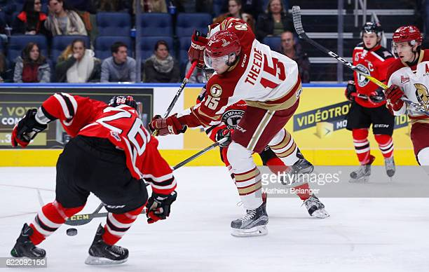 Dawson Theede of the Acadie-Bathurst Titan takes a shot against the Quebec Rempartsduring their QMJHL hockey game at the Centre Videotron on November...