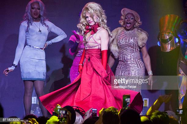 Dax ExclamationPoint Derrick Barry and Chi Chi Devayne onstage during Logo's RuPaul's Drag Race Season 8 Premiere at Stage 48 on February 22 2016 in...
