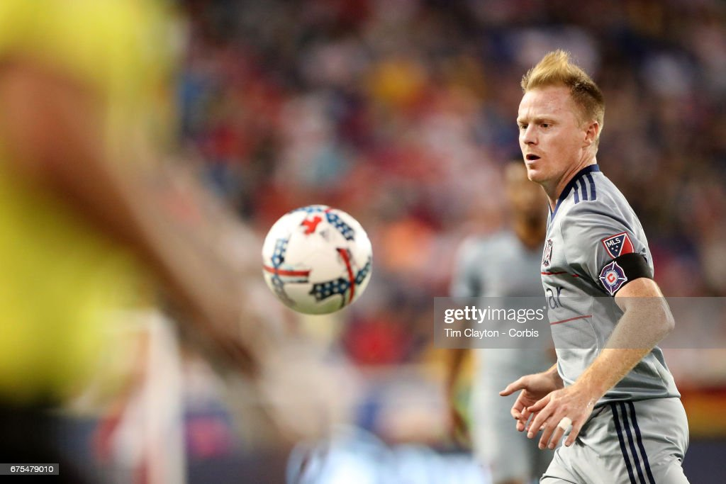 Dax McCarty #6 of Chicago Fire in action during the New York Red Bulls Vs Chicago Fire MLS regular season match at Red Bull Arena, Harrison, New Jersey on April 29, 2017 in Harrison, New Jersey.