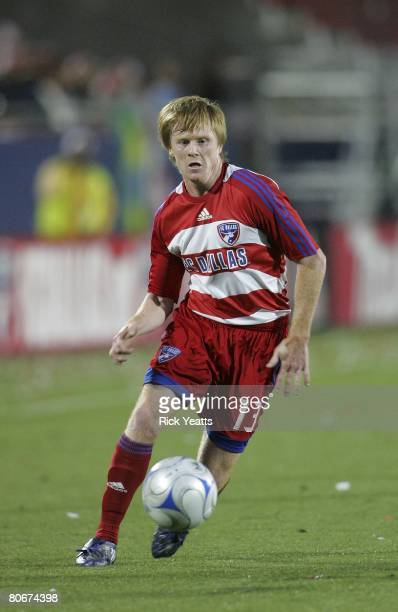 Dax McCarty of FC Dallas moves the ball down field against the New York Red Bulls on April 12, 2008 at Pizza Hut Park in Frisco, Texas.