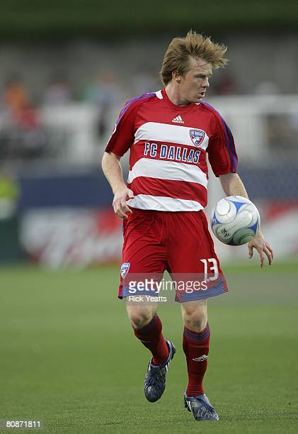 Dax McCarty of FC Dallas takes the ball down field on April 24, 2008 at Pizza Hut Park in Frisco, Texas. New England won the match 1/0.