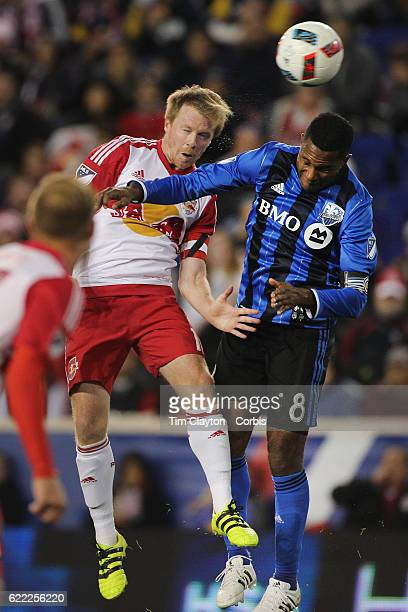 Dax McCarty of New York Red Bulls and Patrice Bernier of Montreal Impact challenge for the ball during the New York Red Bulls Vs Montreal Impact MLS...