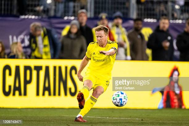 Dax McCarty of the Nashville SC passes the ball during the first half against the Atlanta United at Nissan Stadium on February 29 2020 in Nashville...