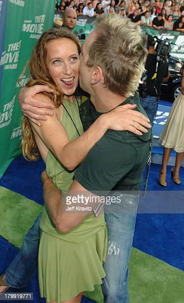 Dax Shepard and guest during 2006 MTV Movie Awards Red Carpet at Sony Studios in Culver City California United States