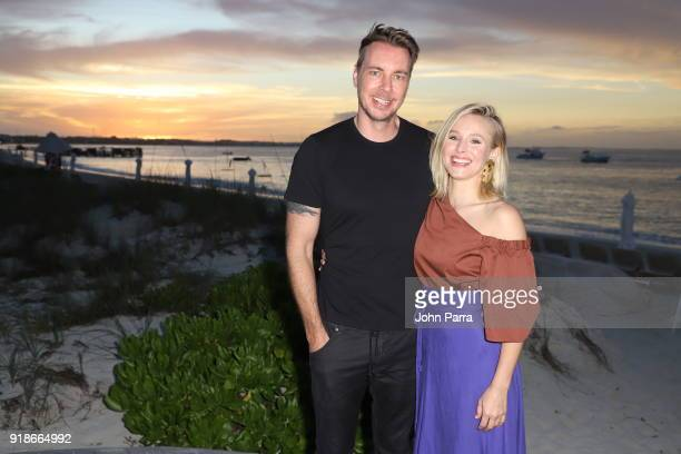 Dax Shepard and Kristen Bell pose as she vacations with her family at Beaches Turks & Caicos Resort Villages & Spa on January 30, 2018 in...