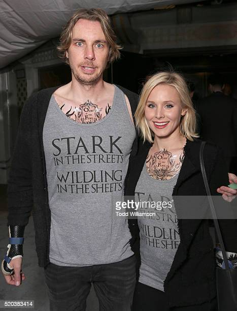 Dax Shepard and Kristen Bell wear Game of Thrones Shirts at Tattoos on a date night at the premiere of HBO's 'Game Of Thrones' Season 6 at TCL...
