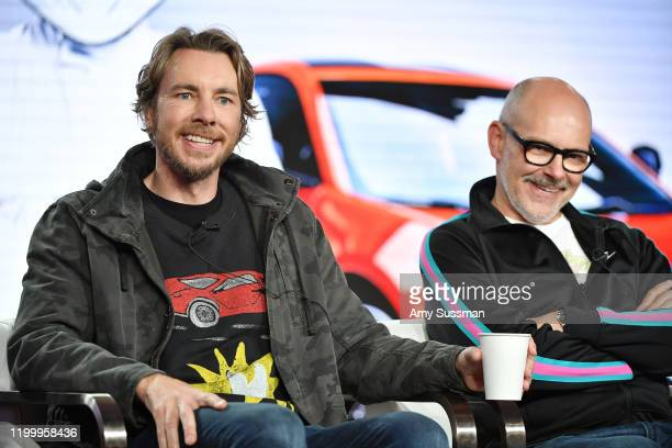 Dax Shepard and Rob Corddry of Top Gear America speak during the Discovery MotorTrend segment of the 2020 Winter TCA Press Tour at The Langham...