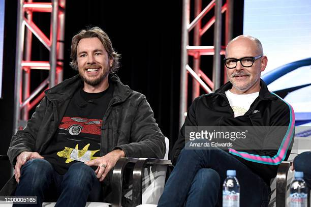 Dax Shepard and Rob Corddry of 'Top Gear America' speak onstage during the MotorTrend portion of the Discovery, Inc. TCA Winter Panel 2020 at The...