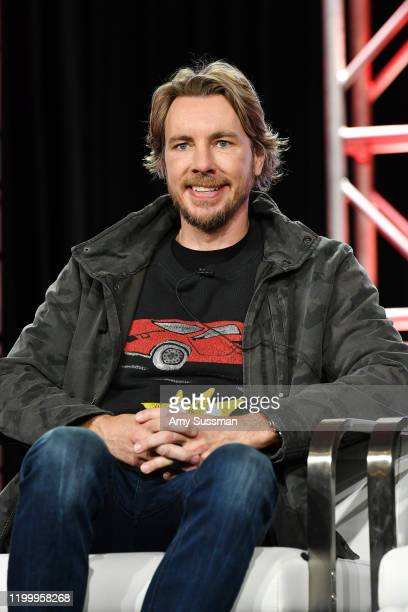 """Dax Shepard of """"Top Gear America"""" speaks during the Discovery MotorTrend segment of the 2020 Winter TCA Press Tour at The Langham Huntington,..."""