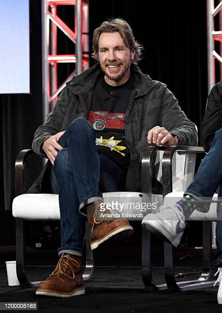 Dax Shepard of 'Top Gear America' speaks onstage during the MotorTrend portion of the Discovery, Inc. TCA Winter Panel 2020 at The Langham...