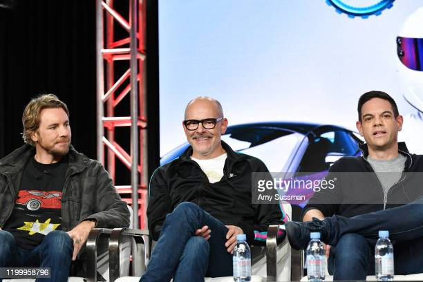 Dax Shepard Rob Corddry and Jethro Bovingdon of Top Gear America speak during the Discovery MotorTrend segment of the 2020 Winter TCA Press Tour at...