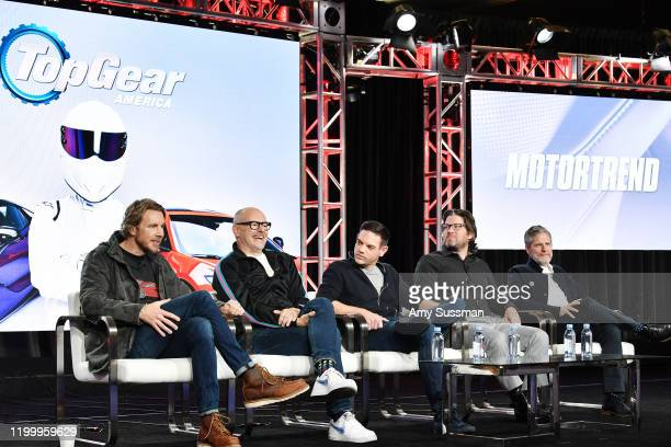 Dax Shepard Rob Corddry Jethro Bovingdon Mike Suggett and Travis Shakespeare of Top Gear America speak during the Discovery MotorTrend segment of the...