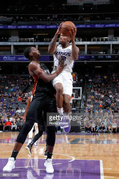 Daxter Miles Jr #18 of the Sacramento Kings goes to the basket against the Miami Heat during the 2018 Summer League at the Golden 1 Center on July 5...