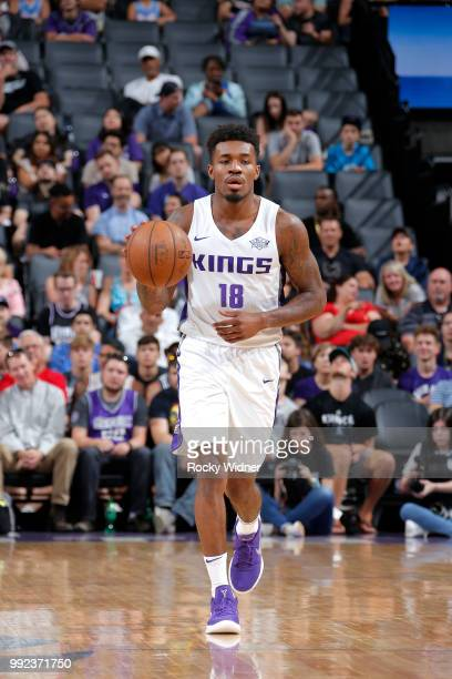 Daxter Miles Jr #18 of the Sacramento Kings handles the ball against the Miami Heat during the 2018 Summer League at the Golden 1 Center on July 5...