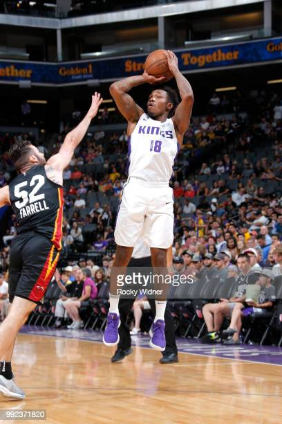 Daxter Miles Jr #18 of the Sacramento Kings shoots the ball against the Miami Heat during the 2018 Summer League at the Golden 1 Center on July 5...