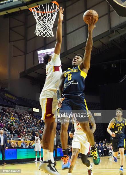 Daxter Miles Jr. #8 of the Fort Wayne Mad Ants battles a the Canton Charge defender on February 23, 2020 at Memorial Coliseum in Fort Wayne, Indiana....