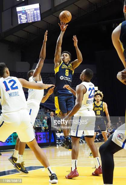 Daxter Miles Jr. #8 of the Fort Wayne Mad Ants shoots the ball against the Delaware Blue Coats on February 09, 2020 at Memorial Coliseum in Fort...