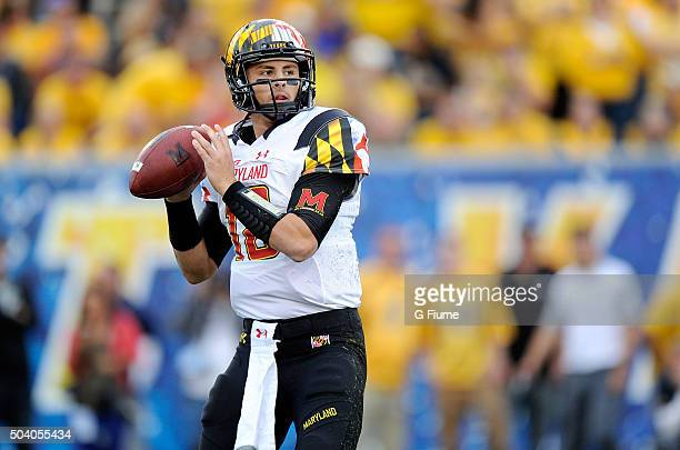 Daxx Garman of the Maryland Terrapins drops back to pass against the West Virginia Mountaineers at Mountaineer Field on September 26 2015 in...