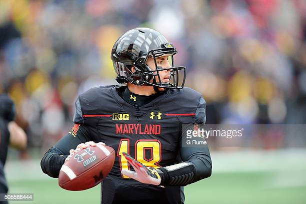 Daxx Garman of the Maryland Terrapins drops back to pass against the Michigan Wolverines at Byrd Stadium on October 3 2015 in College Park Maryland