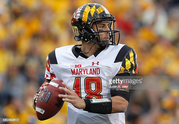 Daxx Garman of the Maryland Terrapins in action during the game against the West Virginia Mountaineers on September 26 2015 at Mountaineer Field in...