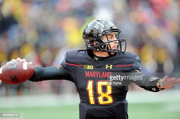 Daxx Garman of the Maryland Terrapins throws a pass against the Michigan Wolverines at Byrd Stadium on October 3 2015 in College Park Maryland