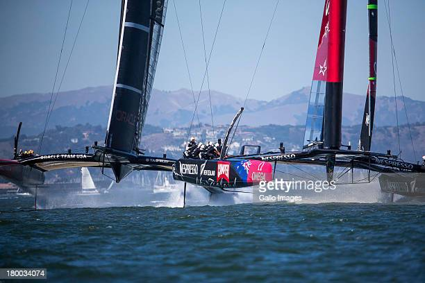 Day 1 of the America's Cup racing between ORACLE TEAM USA skippered by James Spithill and Emirates Team New Zealand skippered Dean Barker Sailed in...