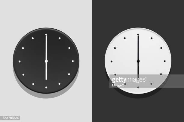 day and night at six o'clock - wall clock stock photos and pictures