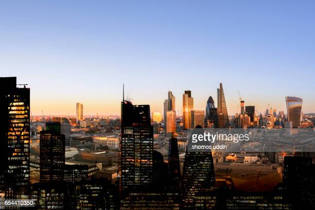 Day and night London cityscape - multiple exposure