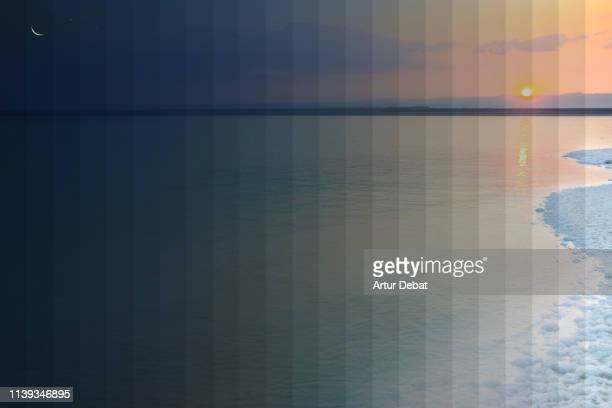 Day and night picture sequences of the Dead Sea with gradient effect.